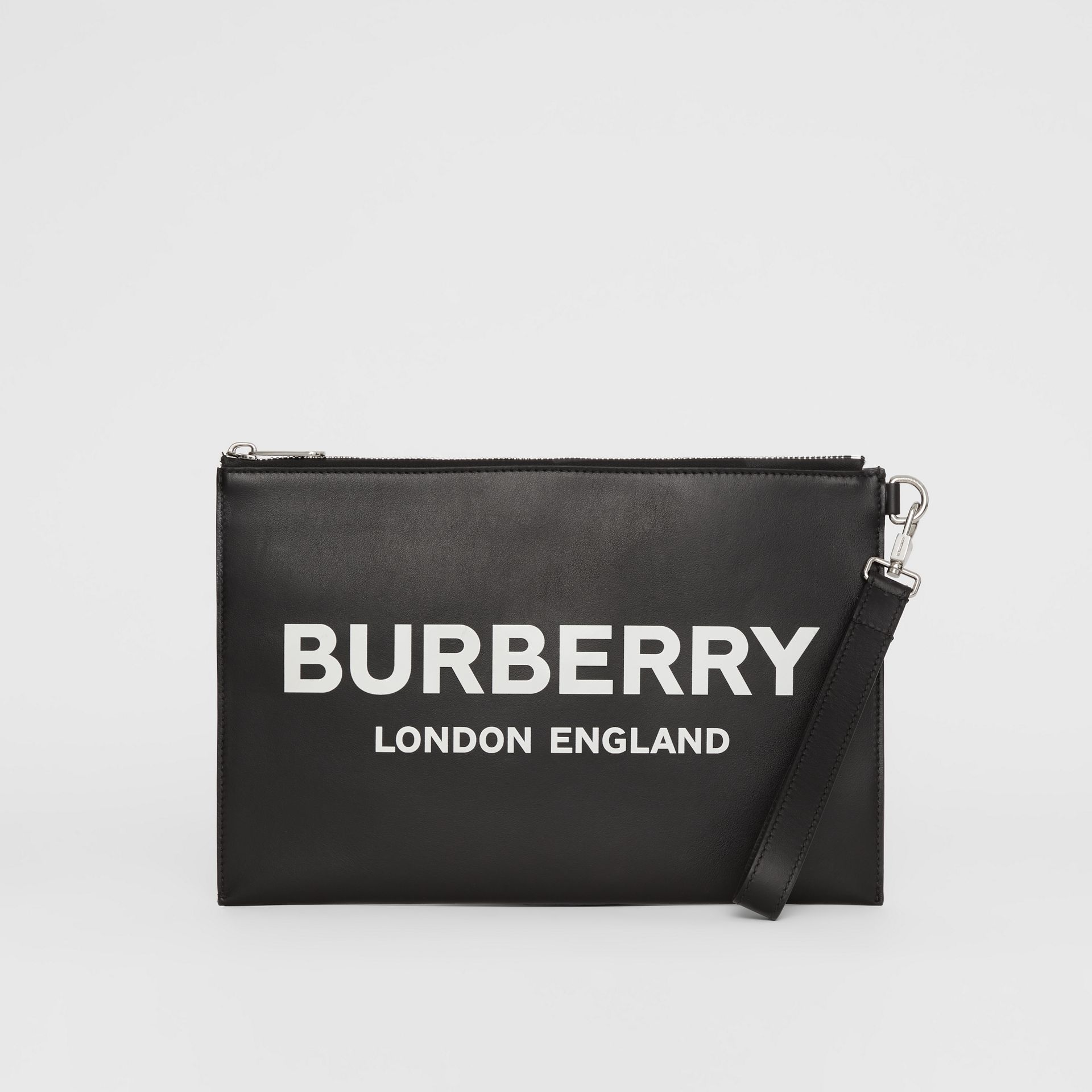 Logo Print Zip Pouch in Black | Burberry - gallery image 2