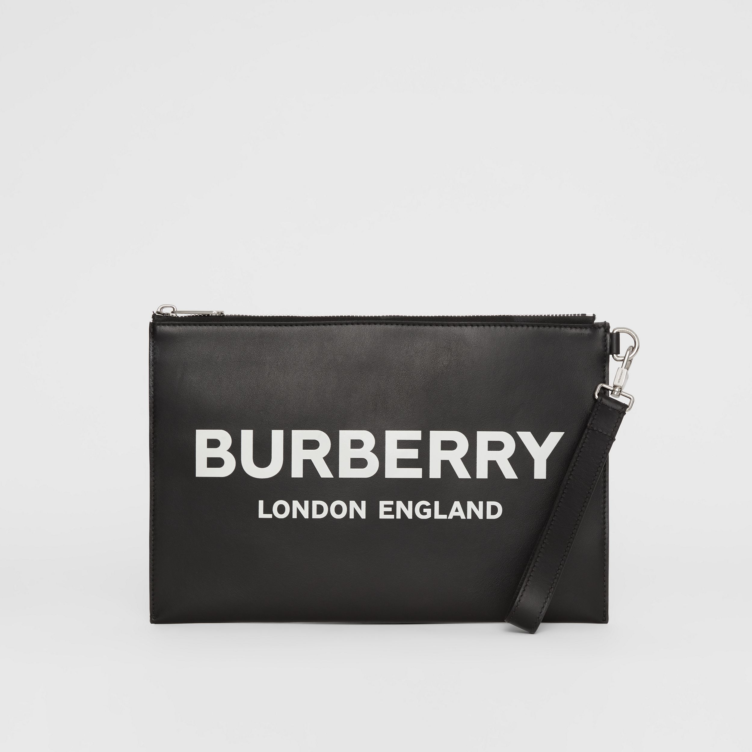 Logo Print Zip Pouch in Black | Burberry - 4