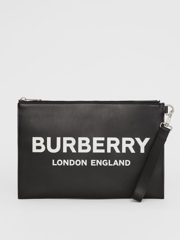 Logo Print Zip Pouch in Black | Burberry - cell image 2