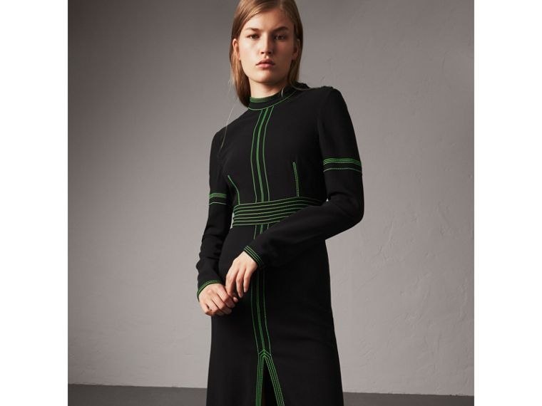 Topstitch Detail Crepe High-neck Dress in Black - Women | Burberry - cell image 4