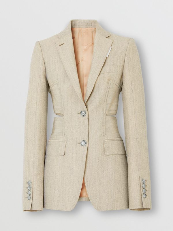 Cut-out Detail Technical Wool Blazer in Grey - Women | Burberry - cell image 3