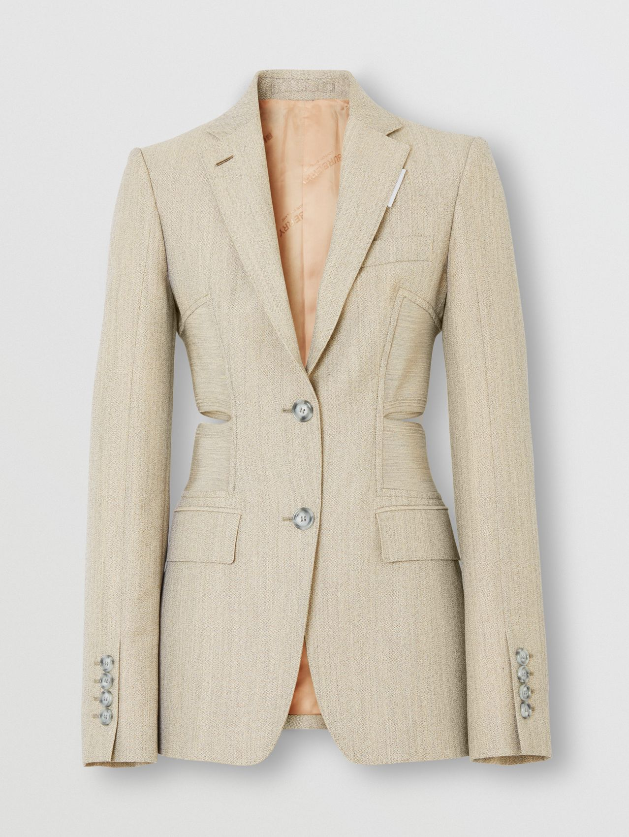 Cut-out Detail Technical Wool Blazer in Grey