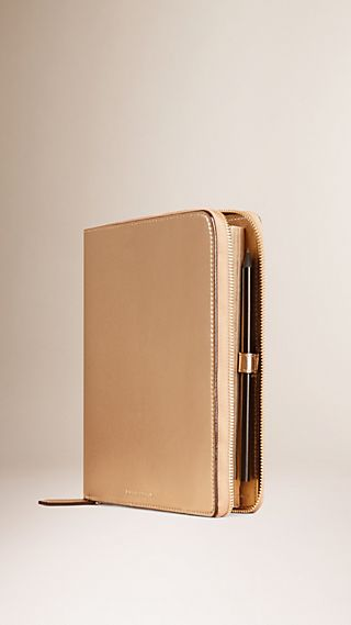 Ziparound Twill-embossed Metallic Leather A5 Notebook