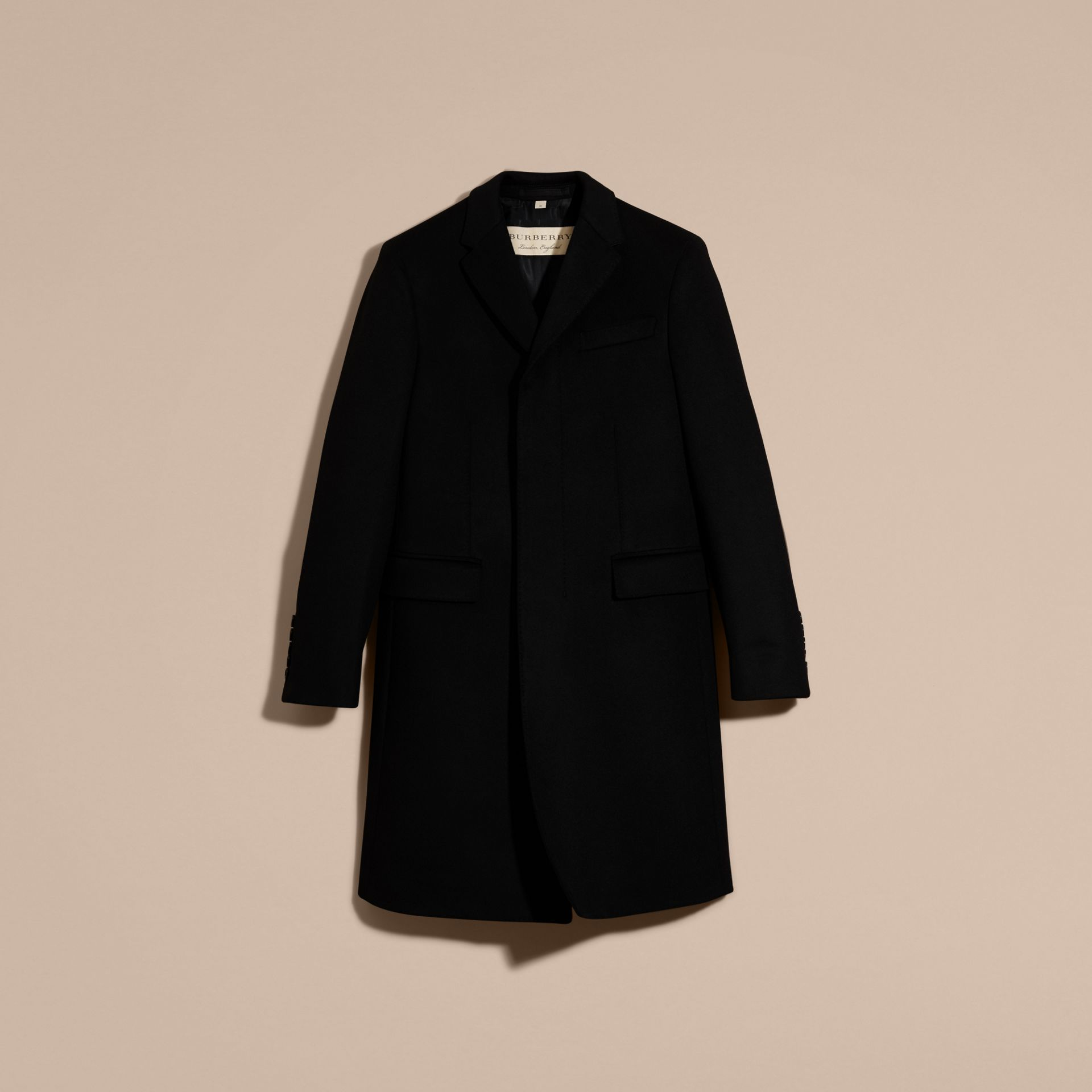 Black Wool Cashmere Tailored Coat Black - gallery image 4