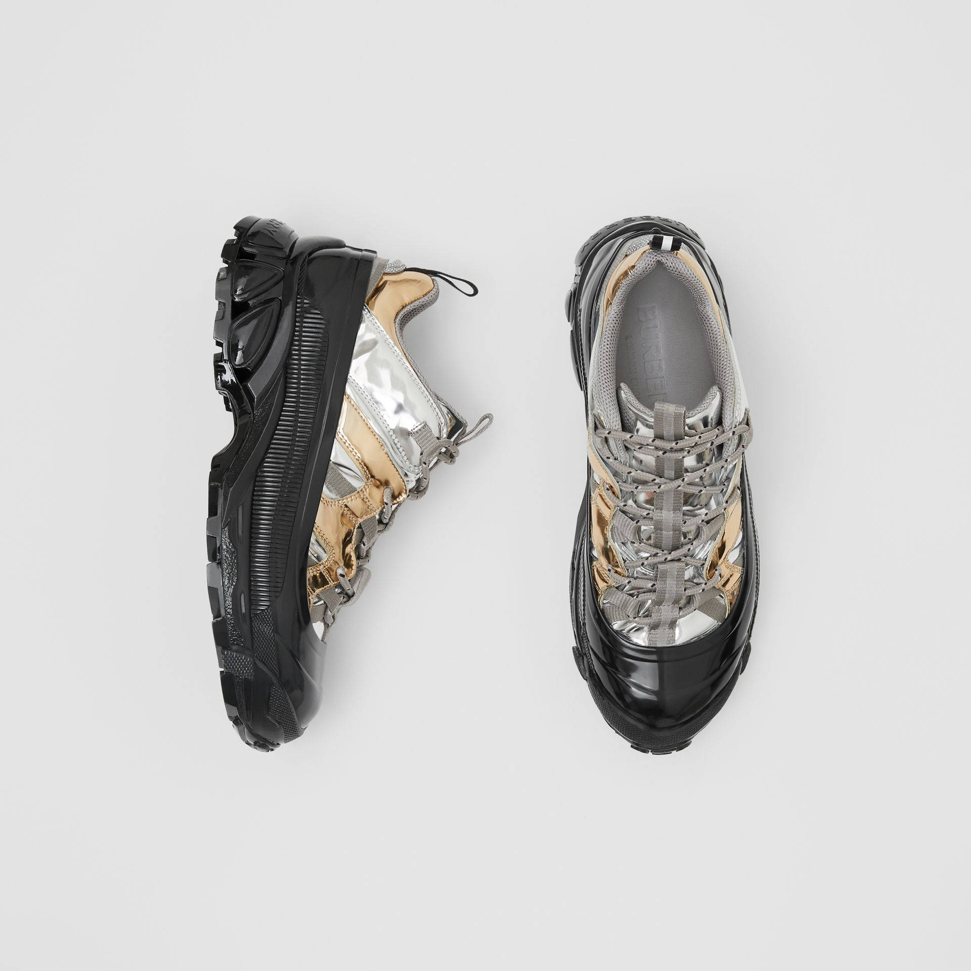 Two-tone Metallic Leather Arthur Sneakers in Silver/gold - Women | Burberry United Kingdom - gallery image 0