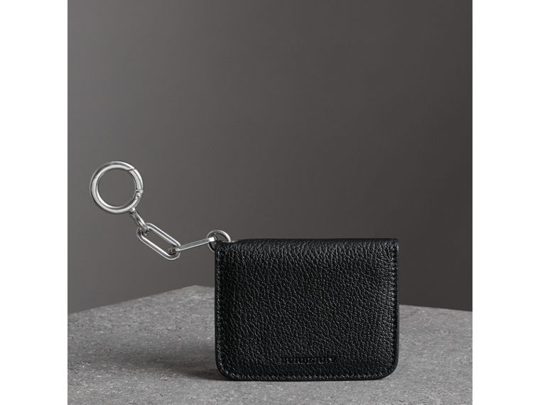 Link Detail Leather ID Card Case Charm in Black | Burberry - cell image 4