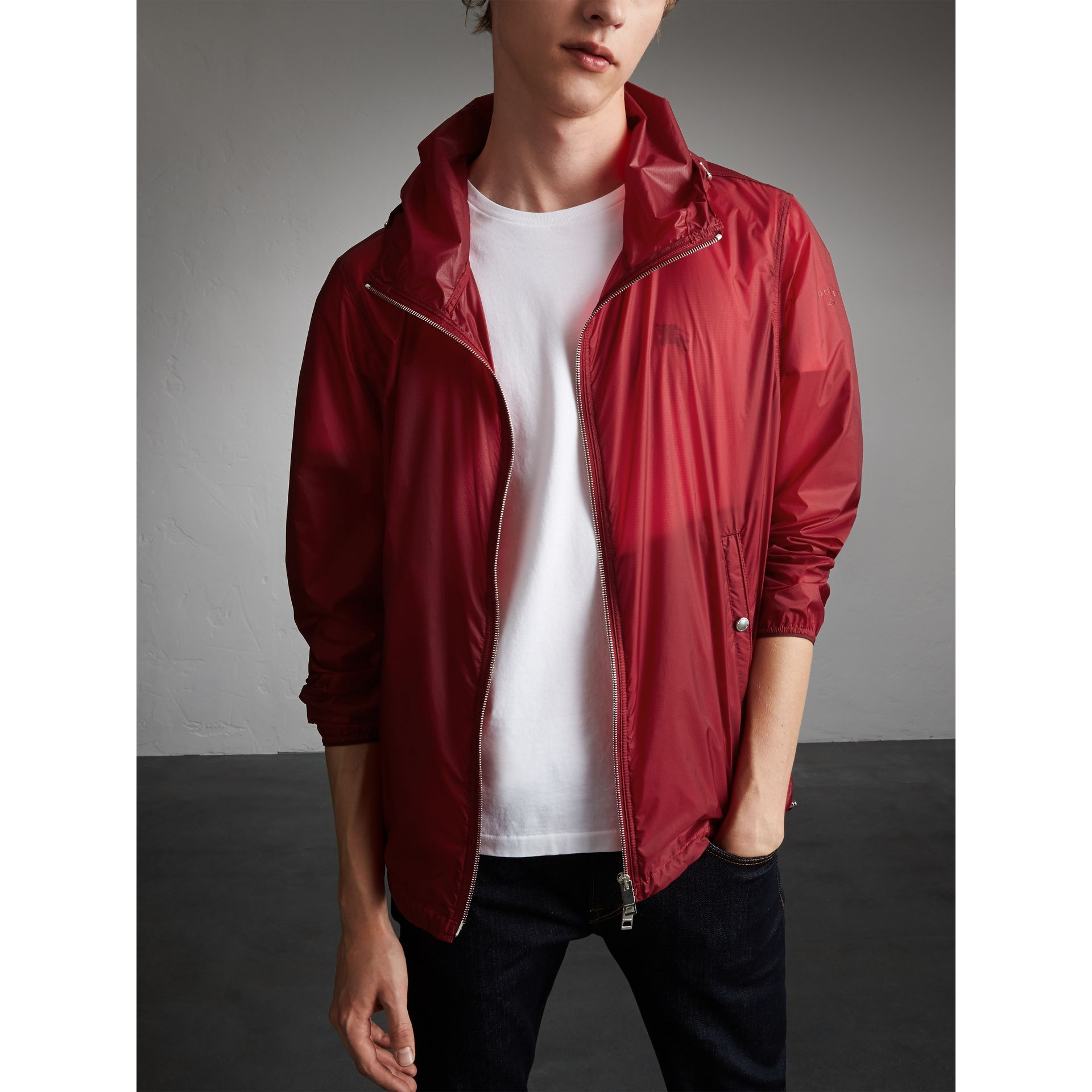 Hooded Super-lightweight Jacket in Crimson Pink - Men | Burberry Australia - gallery image 5