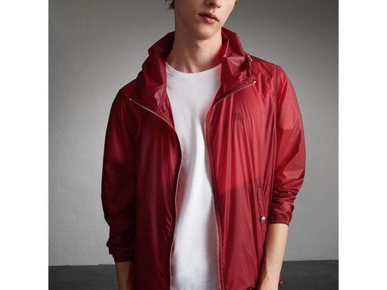 Hooded Super-lightweight Jacket in Crimson Pink - Men | Burberry - cell image 4