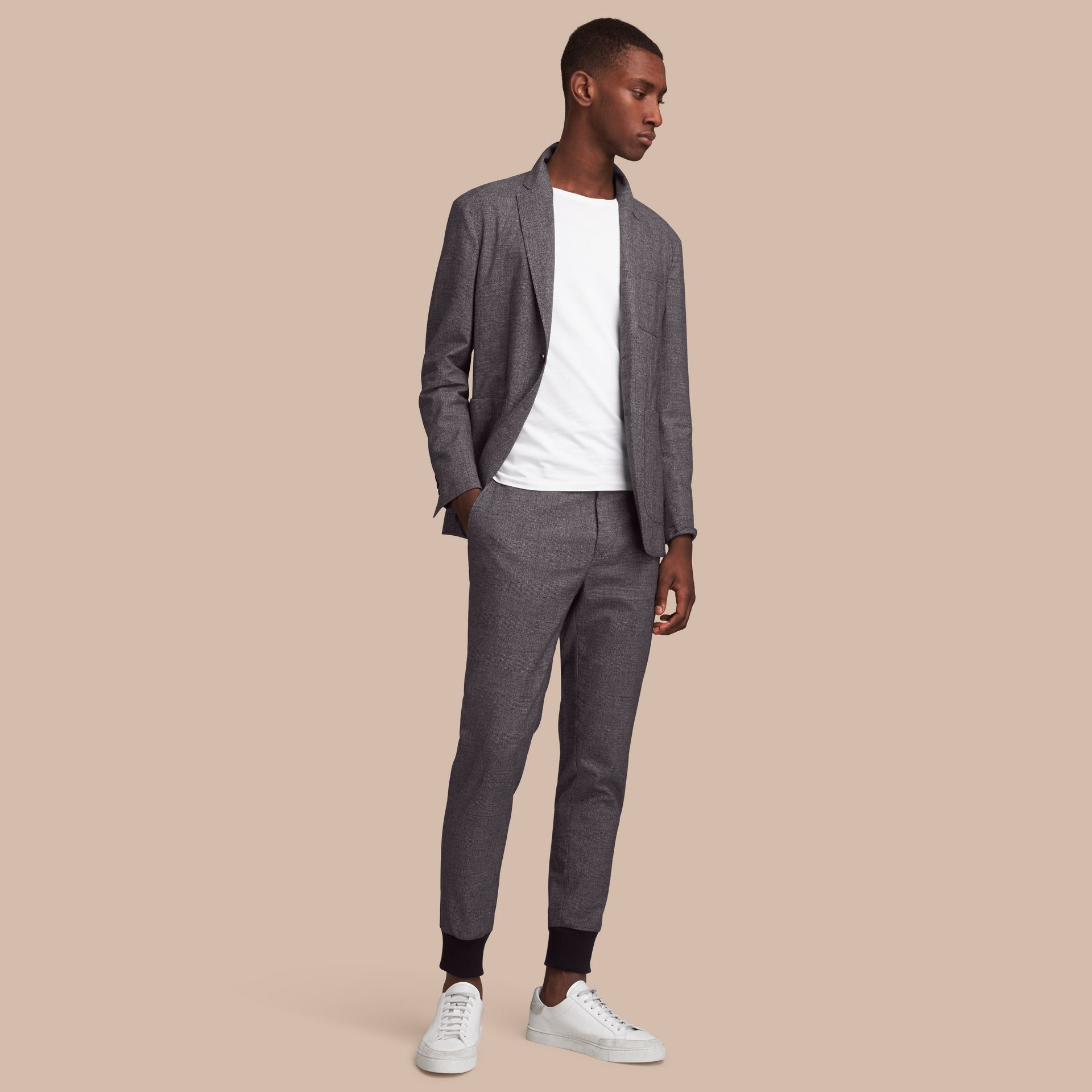 Prince of Wales Cotton Wool Blend Blazer - gallery image 1