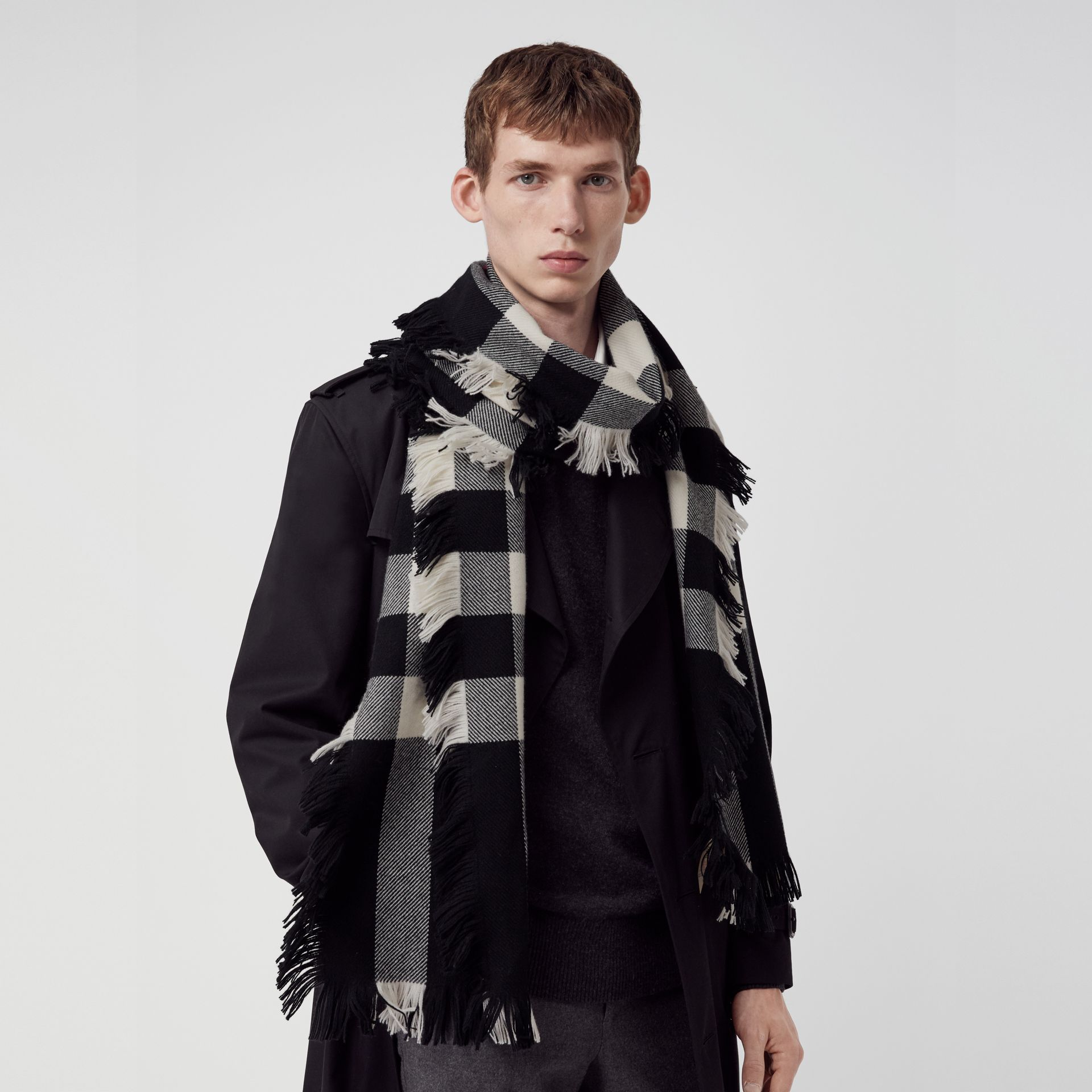 Fringed Check Wool Scarf in Black | Burberry - gallery image 6