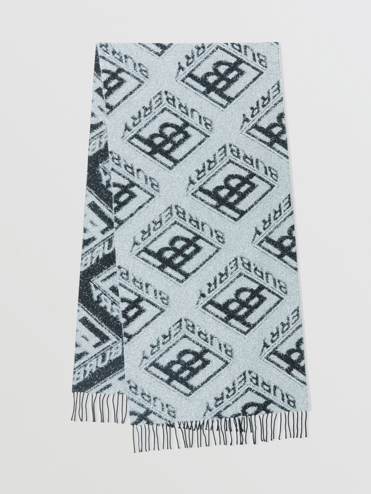 Metallic Monogram Wool Blend Scarf in Black