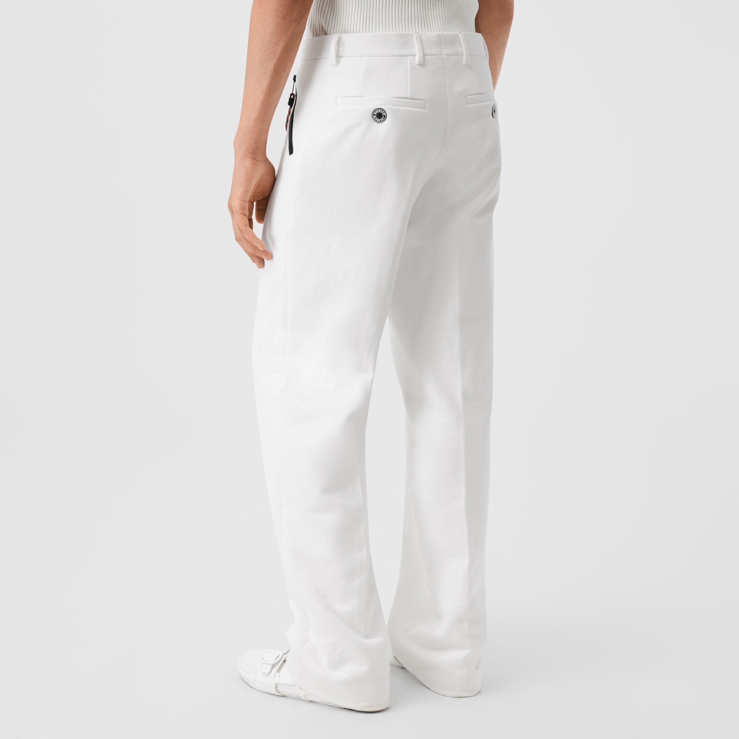 Cotton Jersey Wide-leg Tailored Trousers in Optic White - Men | Burberry - 3