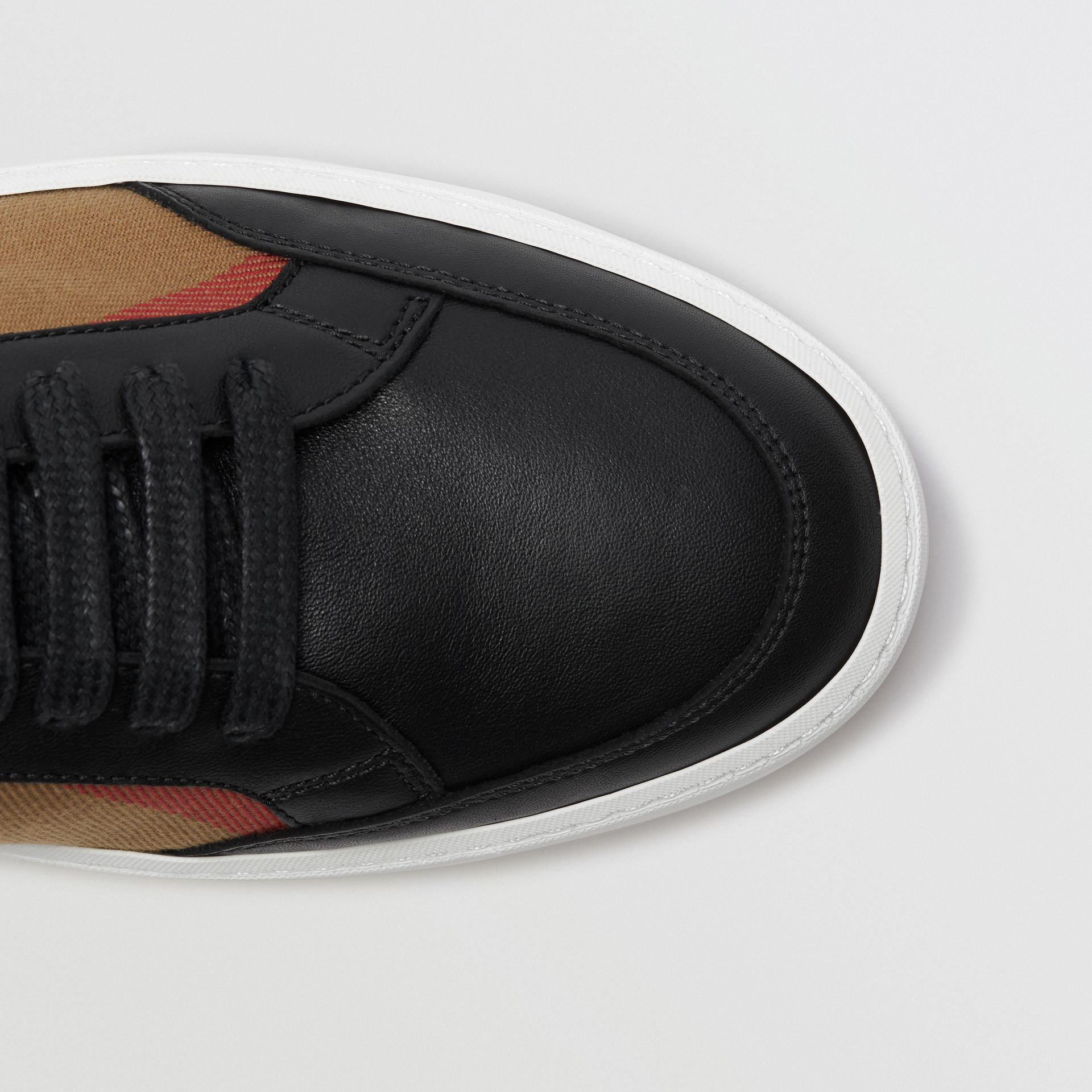 Check Detail Leather Sneakers in House Check/black - Women | Burberry Canada - gallery image 1