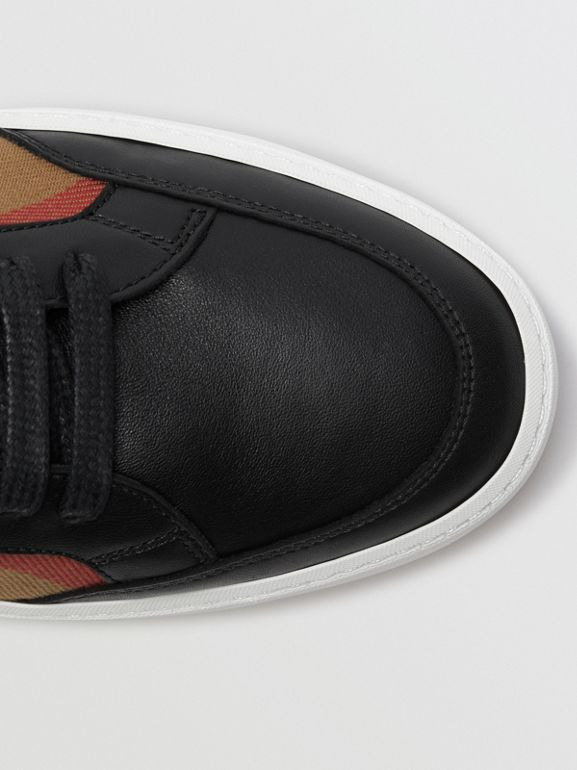 Check Detail Leather Sneakers in House Check/black - Women | Burberry Canada - cell image 1