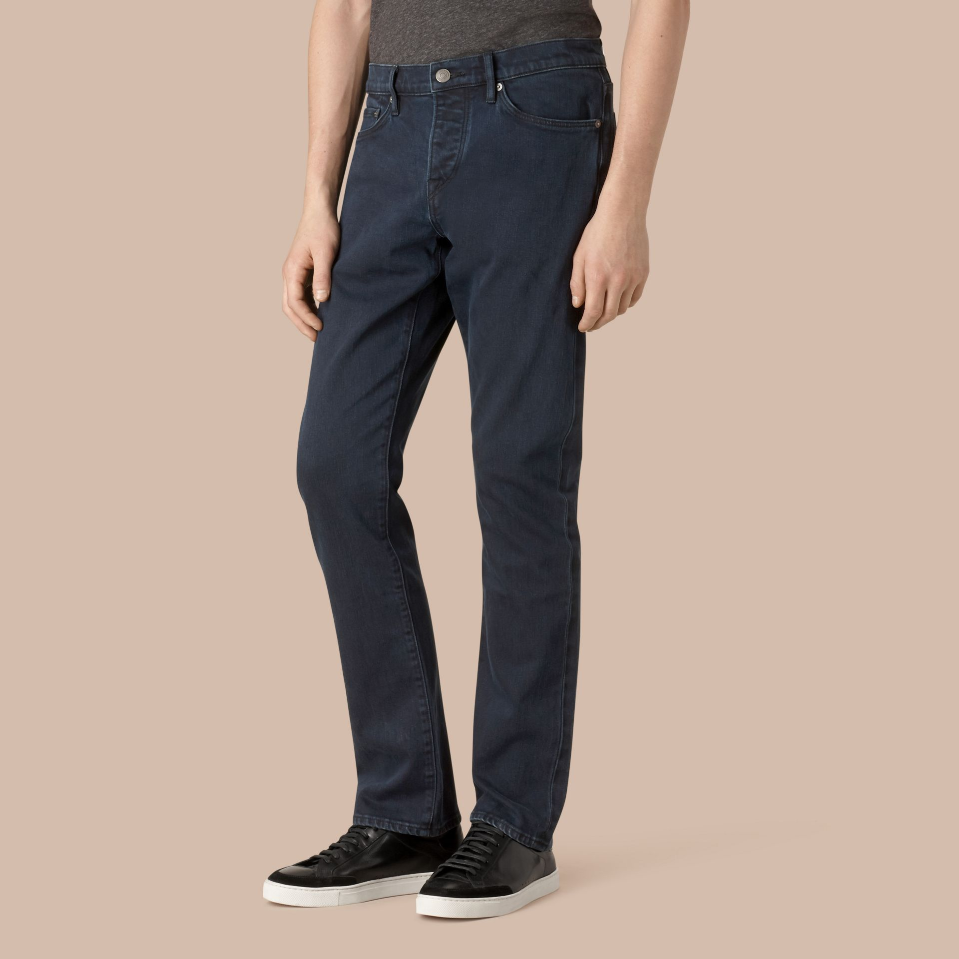 Dark indigo Straight Fit Indigo Stretch Jeans - gallery image 1