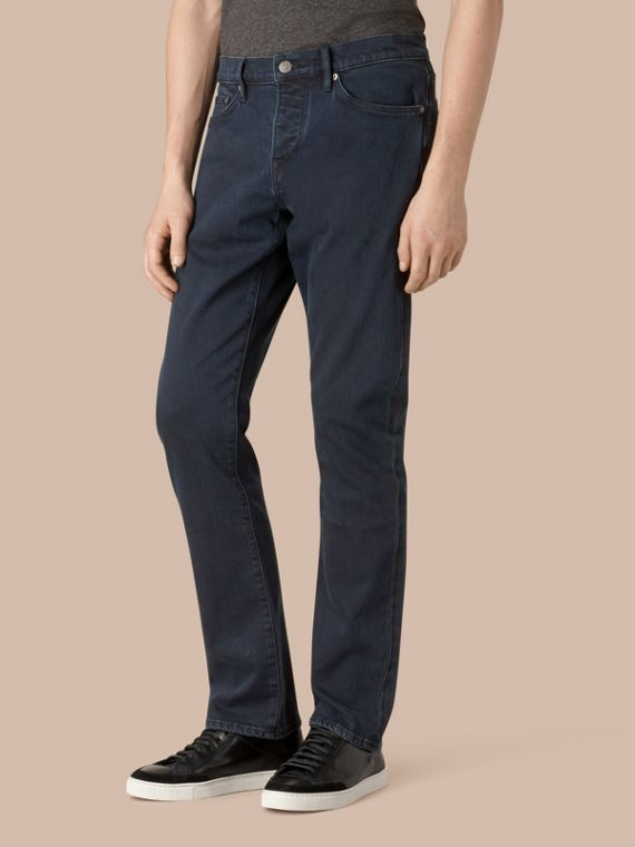 Straight Fit Indigo Stretch Jeans - Men | Burberry Australia