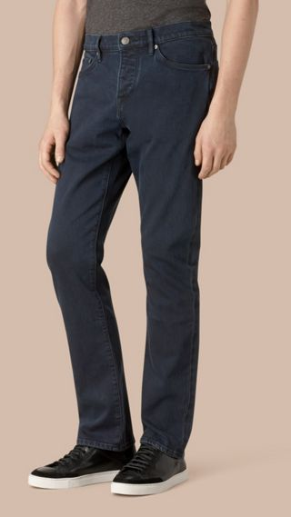 Calças jeans stretch índigo de corte reto