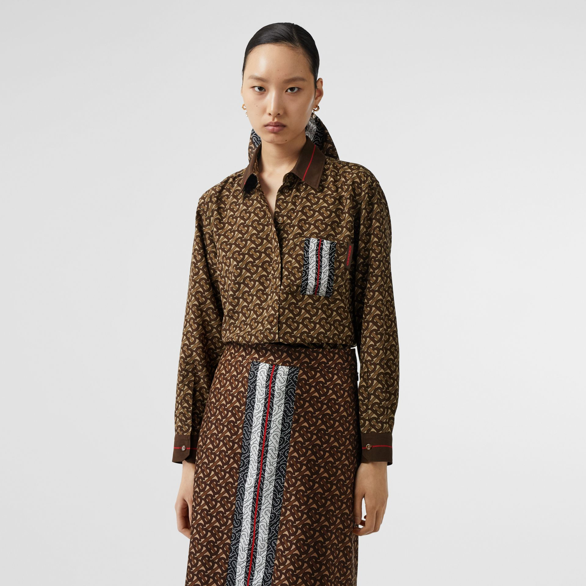 Monogram Stripe Print Silk Oversized Shirt in Bridle Brown - Women | Burberry United States - gallery image 4