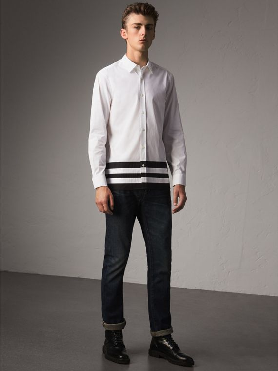 Striped Hem Stretch Cotton Shirt in White - Men | Burberry - cell image 3