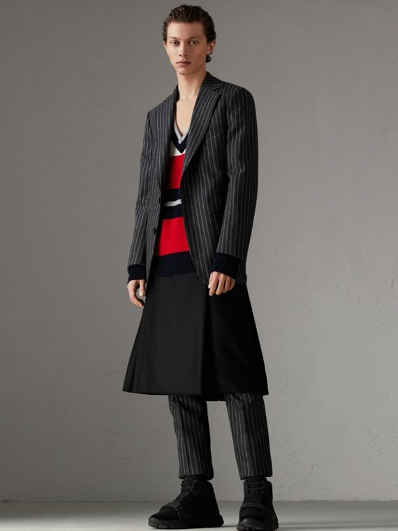 Pinstriped Wool Blend Twill Tailored Jacket in Dark Grey