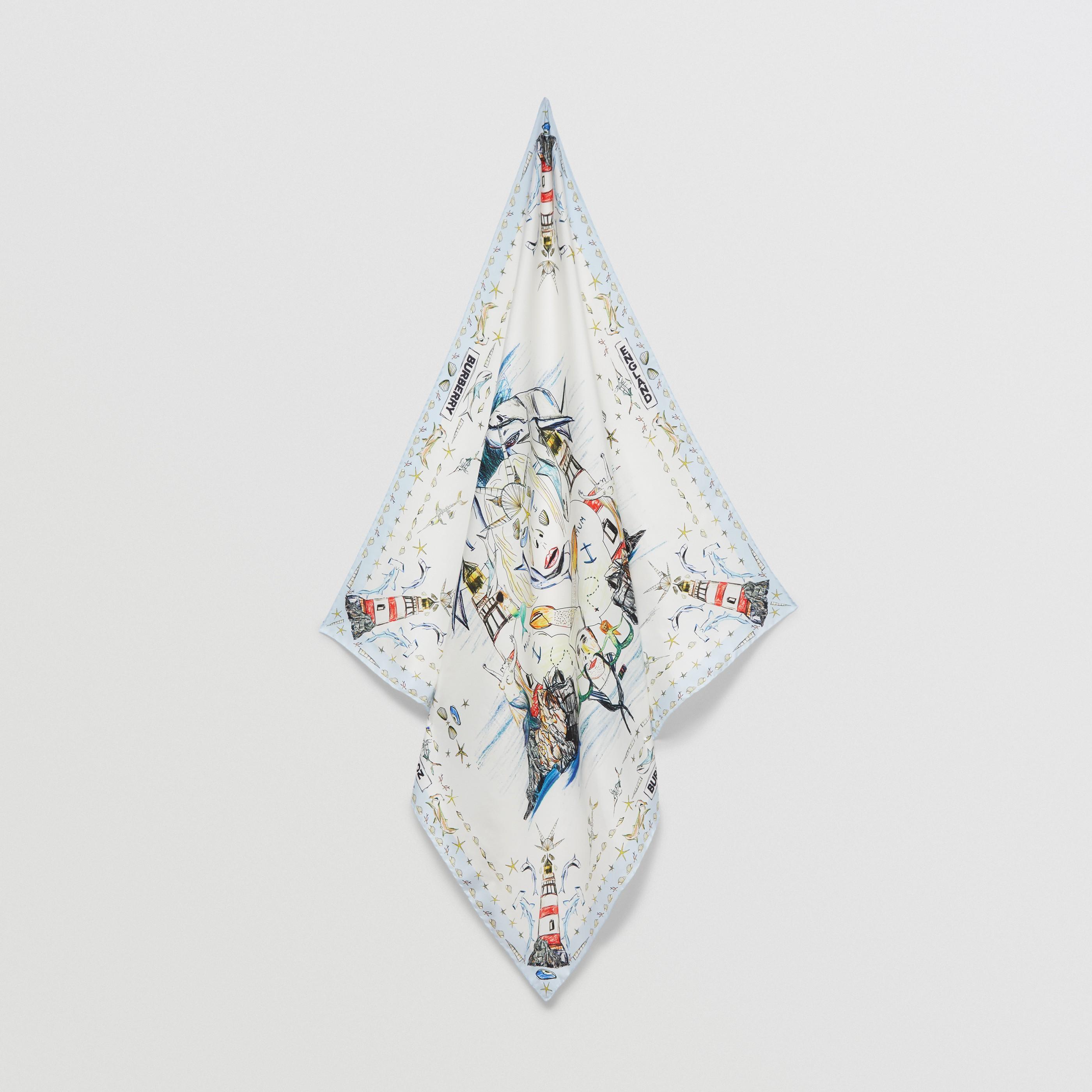Foulard in seta con motivo marino (Bianco) | Burberry - 5
