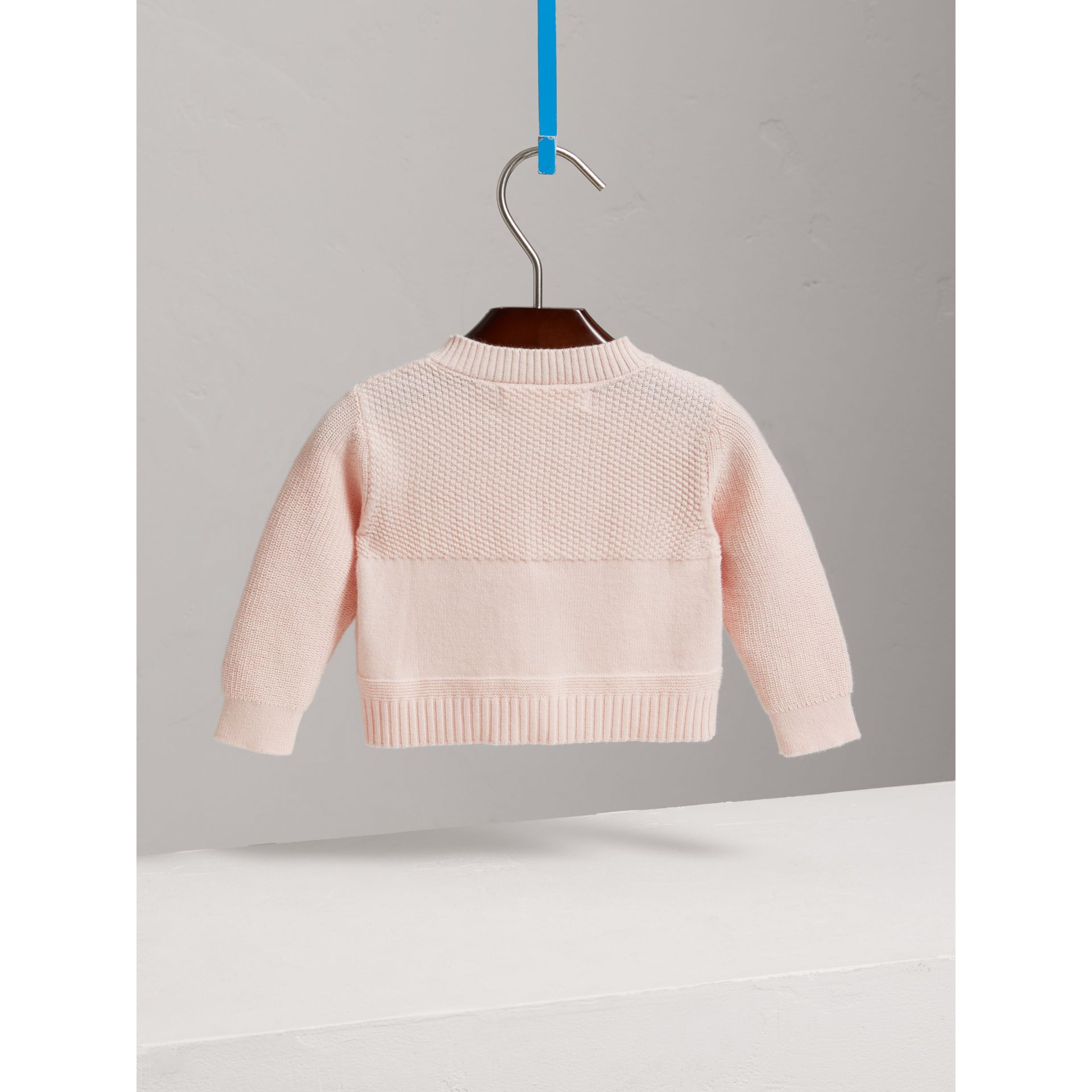 Multi-stitch Cotton Cardigan in Powder Pink - Children | Burberry United Kingdom - gallery image 3