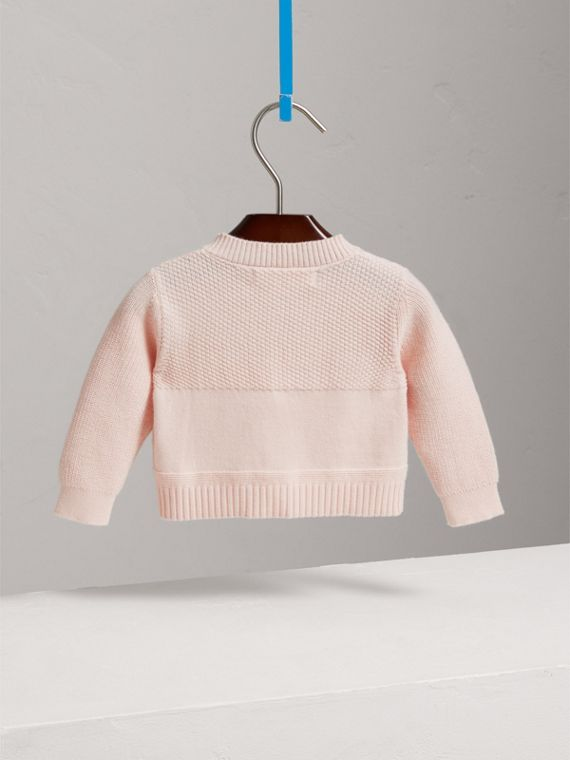 Multi-stitch Cotton Cardigan in Powder Pink | Burberry - cell image 3