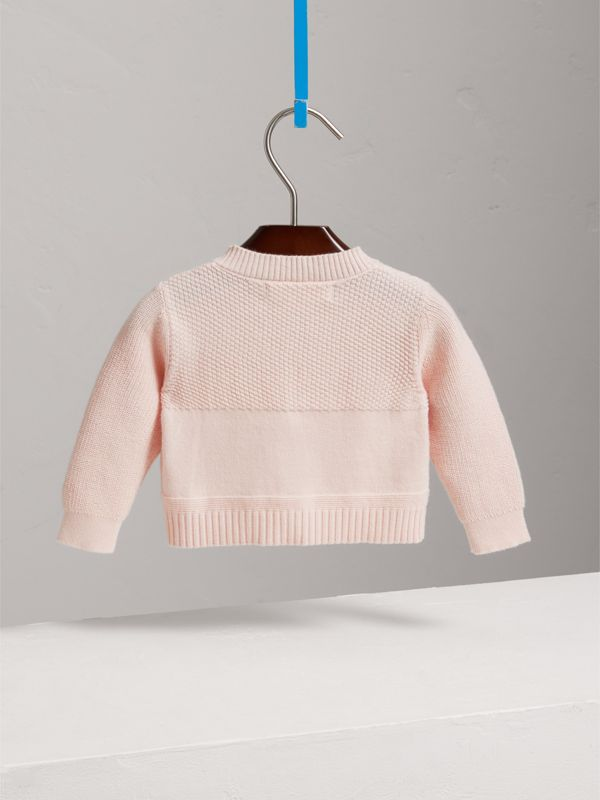 Multi-stitch Cotton Cardigan in Powder Pink - Children | Burberry - cell image 3