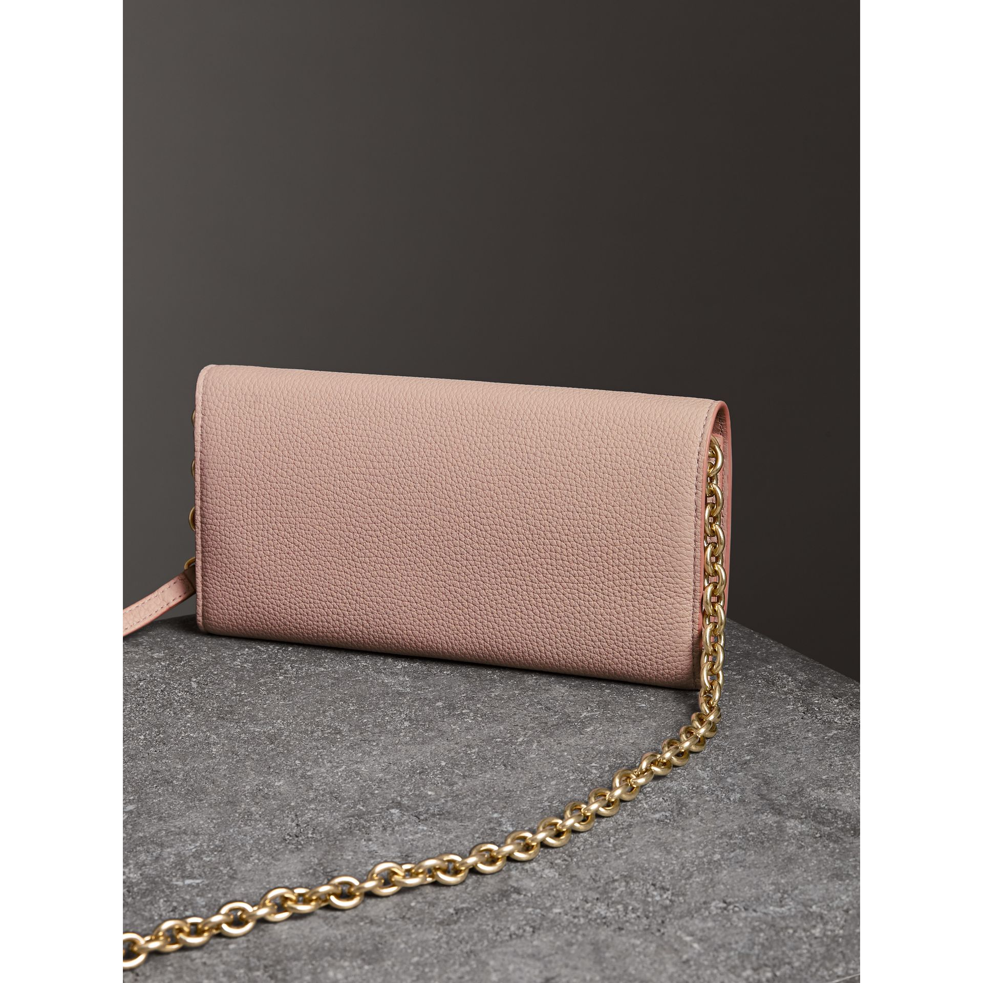 Embossed Leather Wallet with Chain in Pale Ash Rose - Women | Burberry - gallery image 2