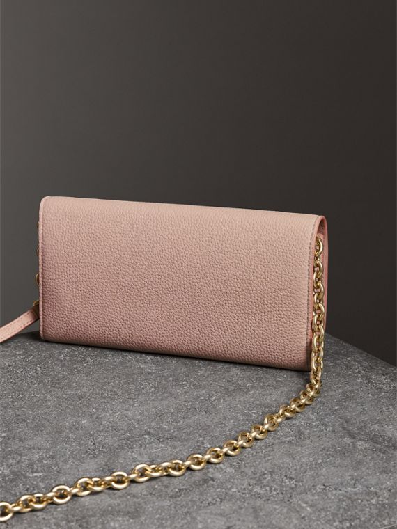 Embossed Leather Wallet with Chain in Pale Ash Rose - Women | Burberry - cell image 2