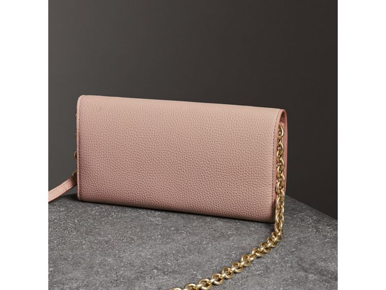 Embossed Leather Wallet with Chain in Pale Ash Rose - Women | Burberry - cell image 4