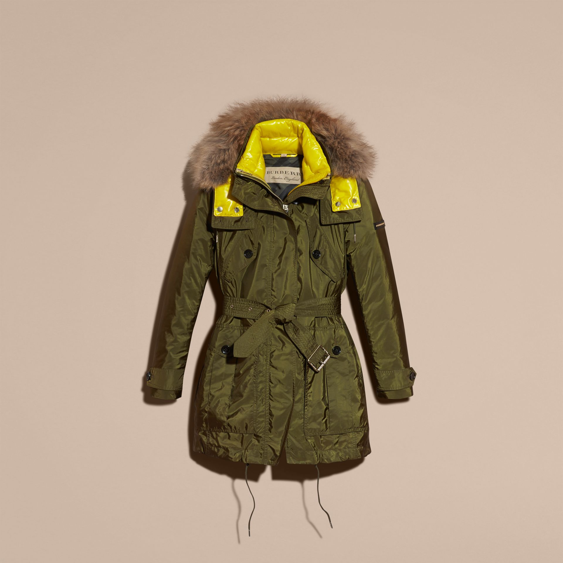 Fur-trimmed Parka with Detachable Down-filled Jacket Bright Moss Green - gallery image 4