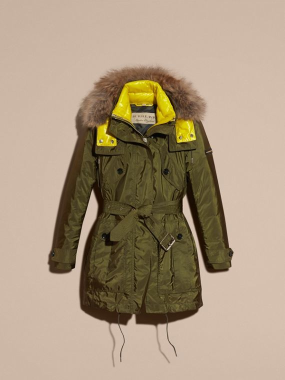 Bright moss green Fur-trimmed Parka with Detachable Down-filled Jacket Bright Moss Green - cell image 3
