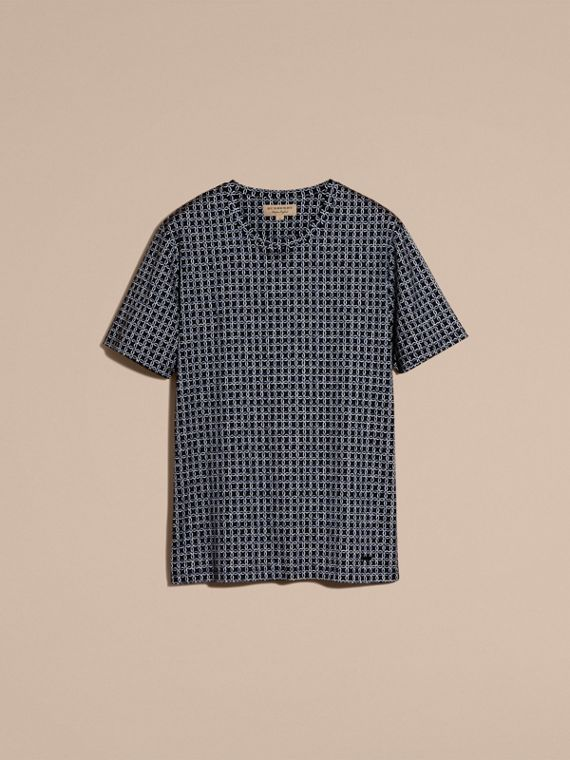 Navy Printed Cotton T-shirt - cell image 3
