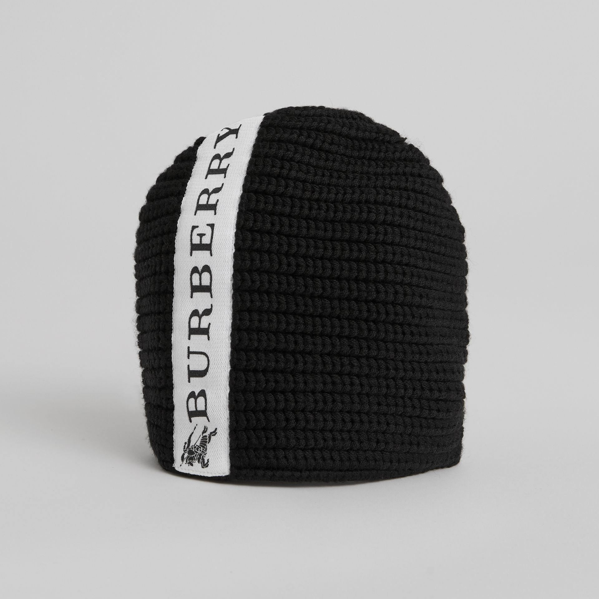 Logo Stripe Wool Beanie in Black | Burberry - gallery image 0