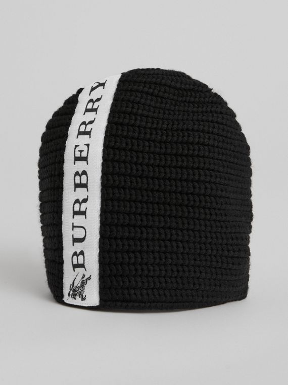 Logo Stripe Wool Beanie in Black