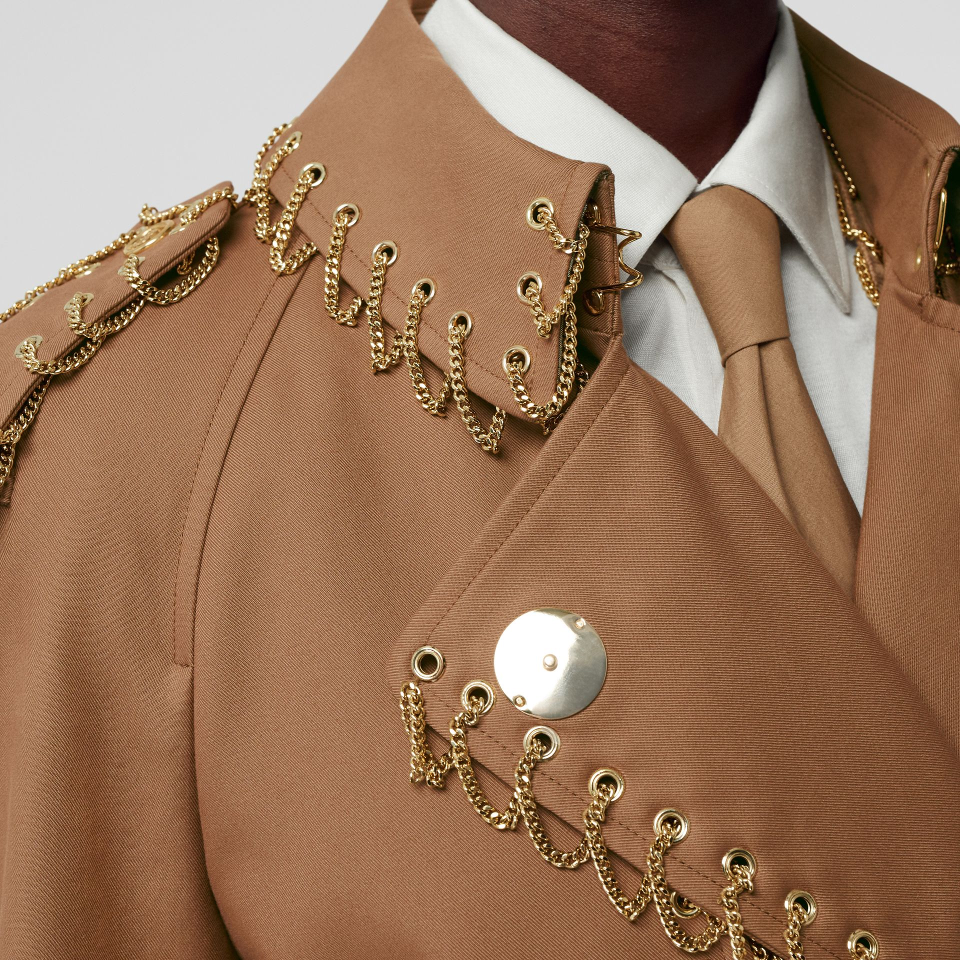 Chain Detail Cotton Gabardine Trench Coat in Warm Walnut - Women | Burberry - gallery image 4