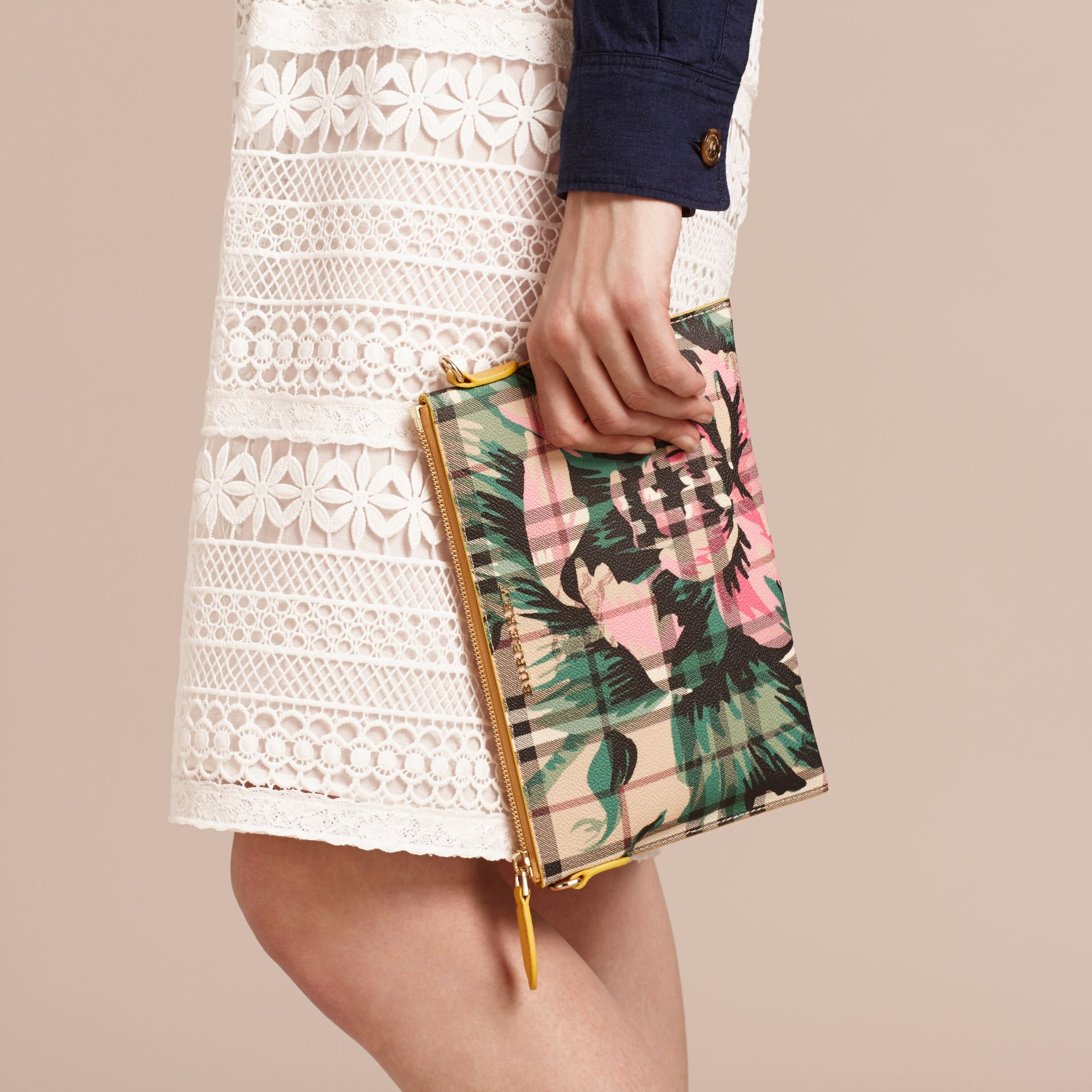 Peony Rose Print Haymarket Check and Leather Clutch Bag in Larch Yellow/emerald Green - gallery image 4