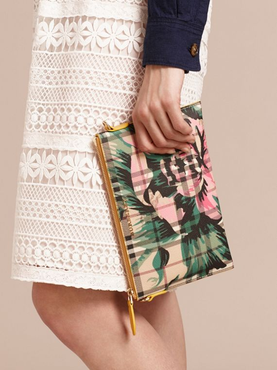 Peony Rose Print Haymarket Check and Leather Clutch Bag in Larch Yellow/emerald Green - cell image 3