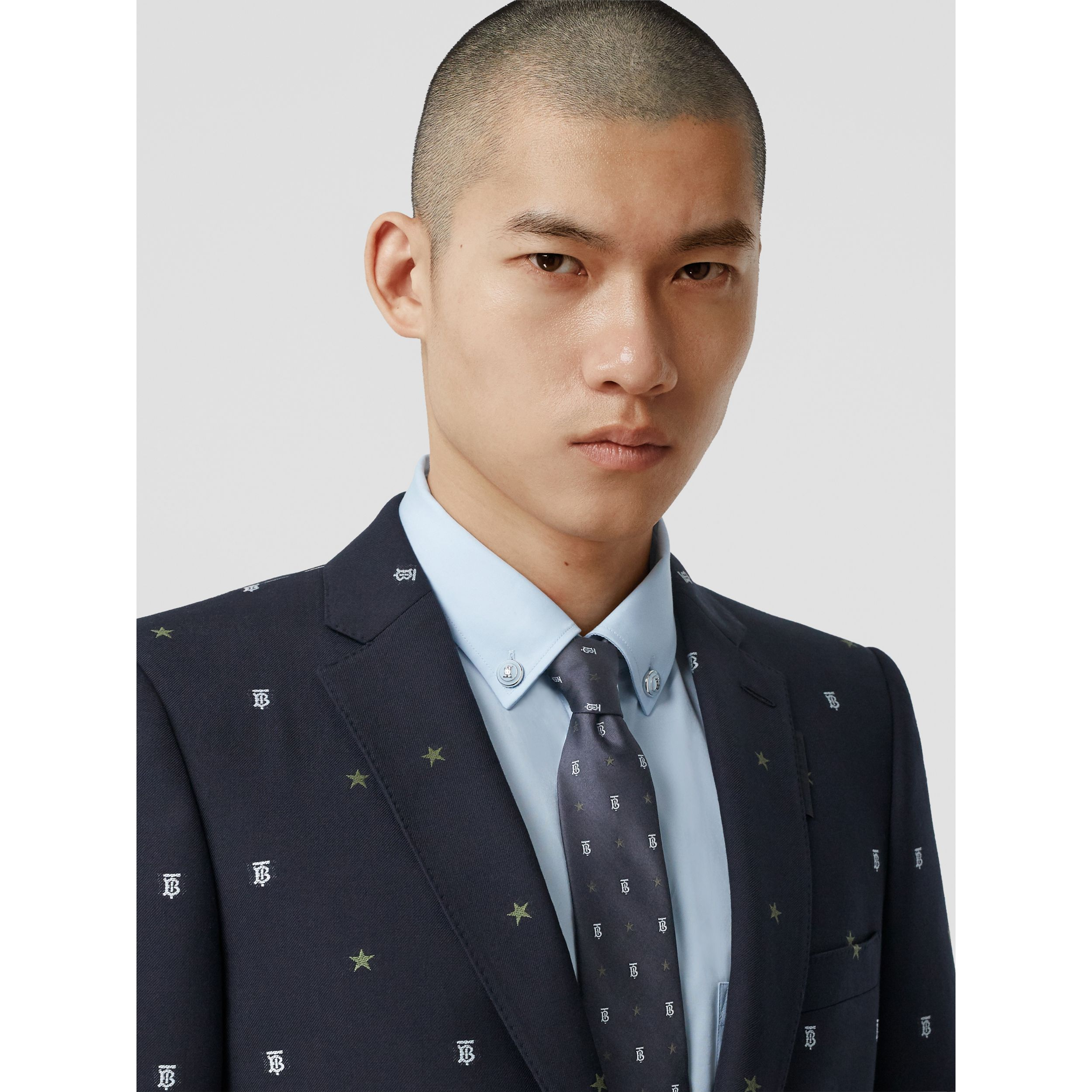 Classic Cut Star and Monogram Motif Silk Tie in Dark Navy - Men | Burberry Singapore - 3