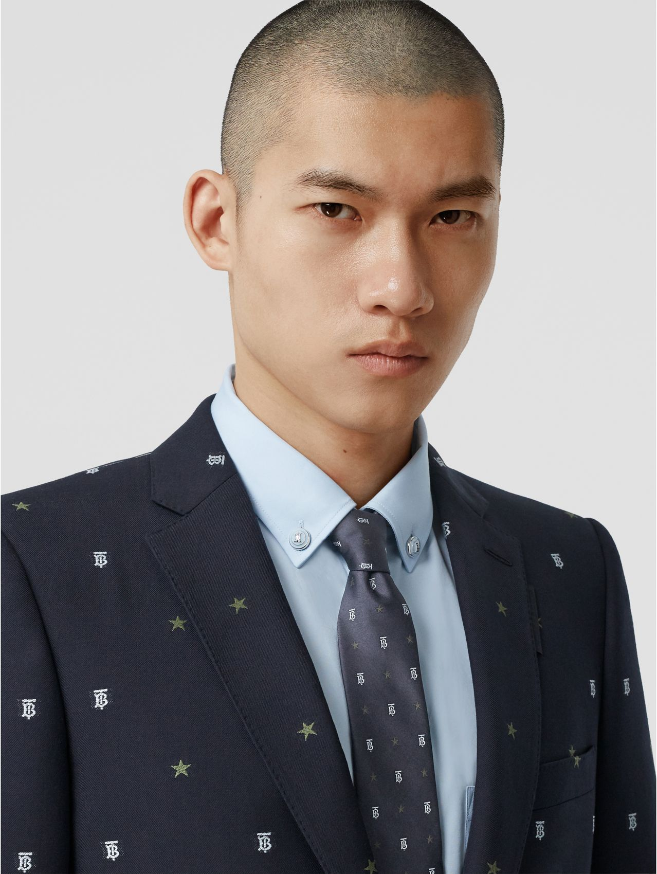 Classic Cut Star and Monogram Motif Silk Tie in Dark Navy