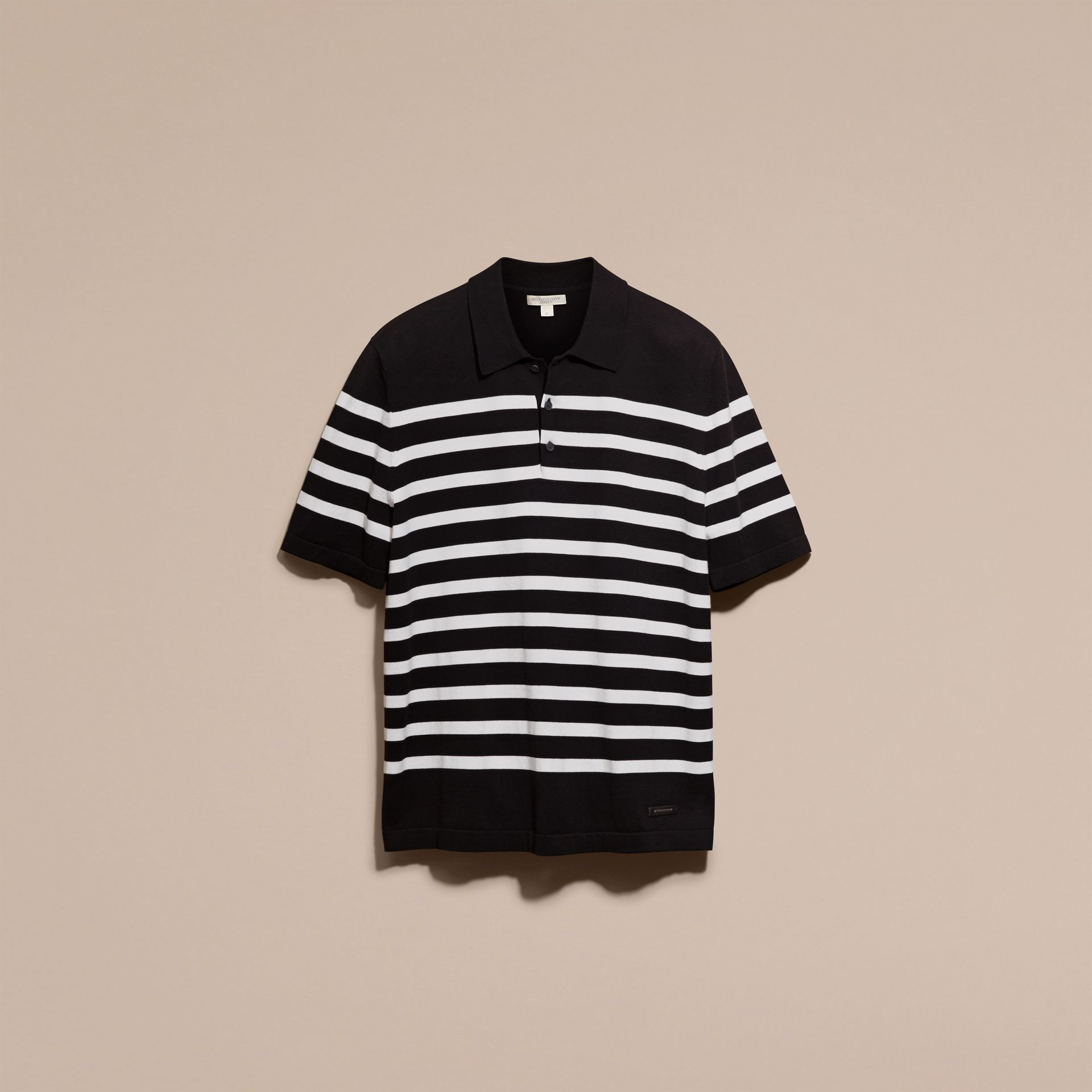 Black/white Striped Cotton Polo Shirt Black/white - gallery image 4