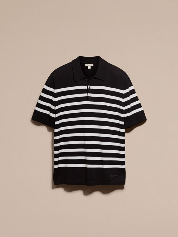 Black/white Striped Cotton Polo Shirt Black/white - cell image 3