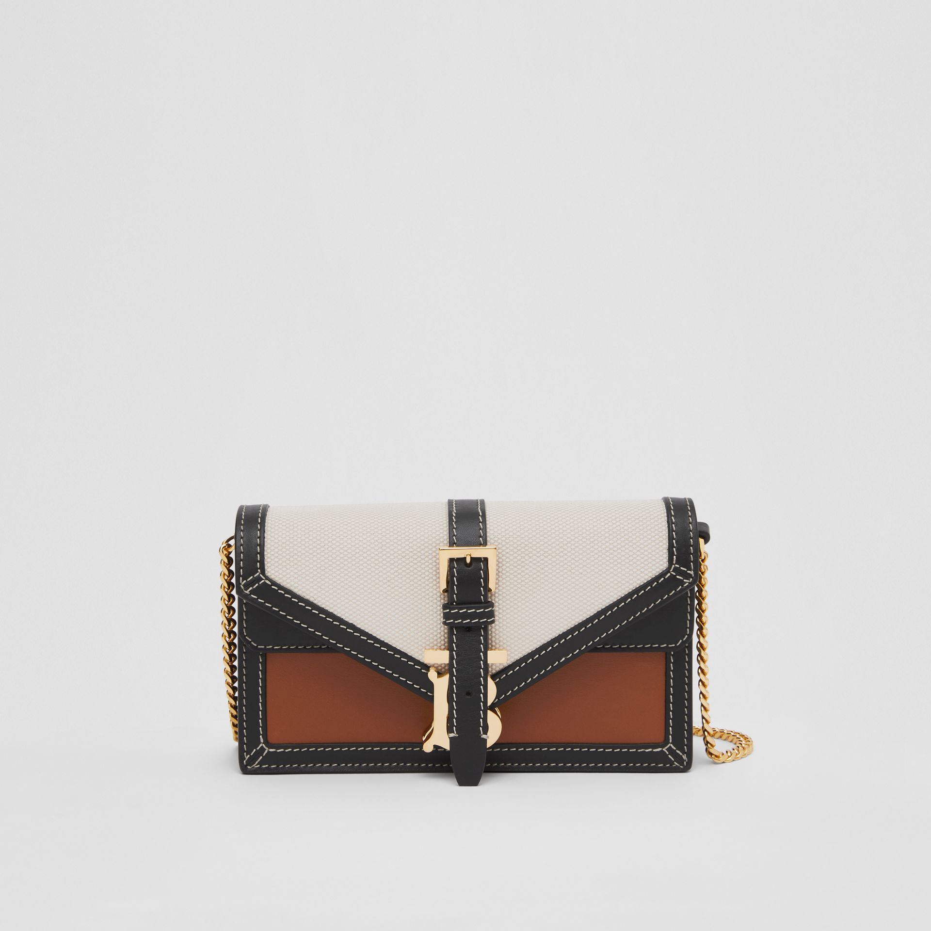 Mini Canvas and Leather TB Envelope Clutch in Tan - Women | Burberry - gallery image 0