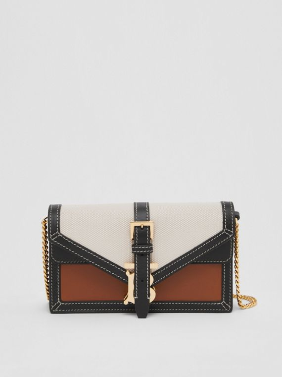 Mini Canvas and Leather TB Envelope Clutch in Tan