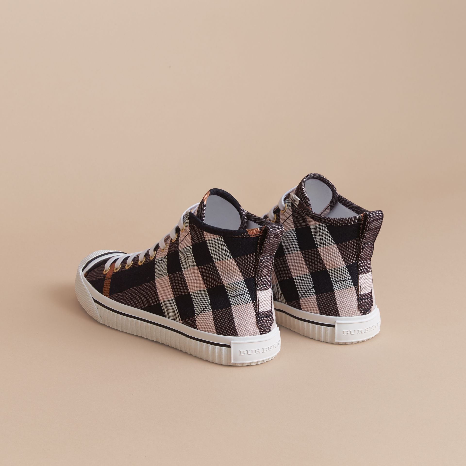 Check Linen Cotton High-top Trainers in Antique Rose - Women | Burberry Canada - gallery image 3