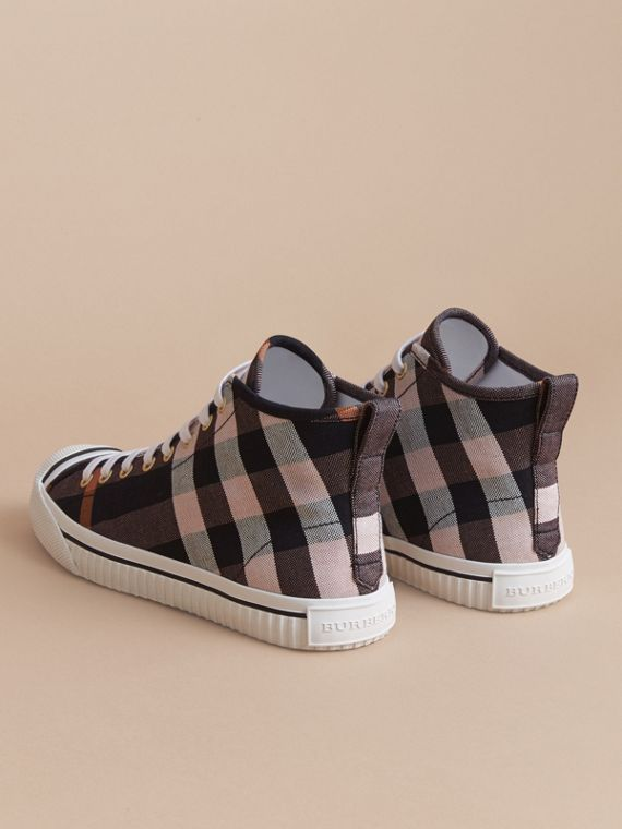 Check Linen Cotton High-top Trainers in Antique Rose - Women | Burberry - cell image 3