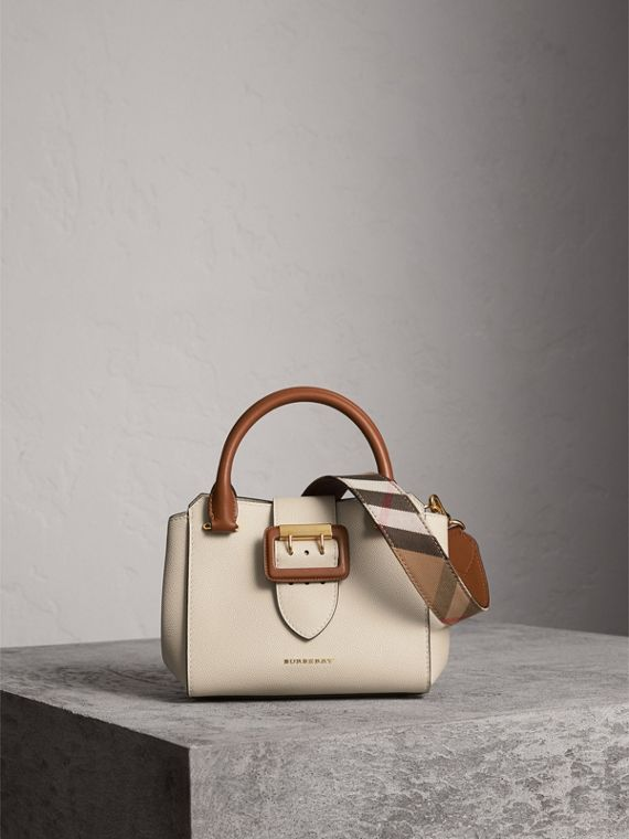 The Small Buckle Tote in Two-tone Leather in Limestone
