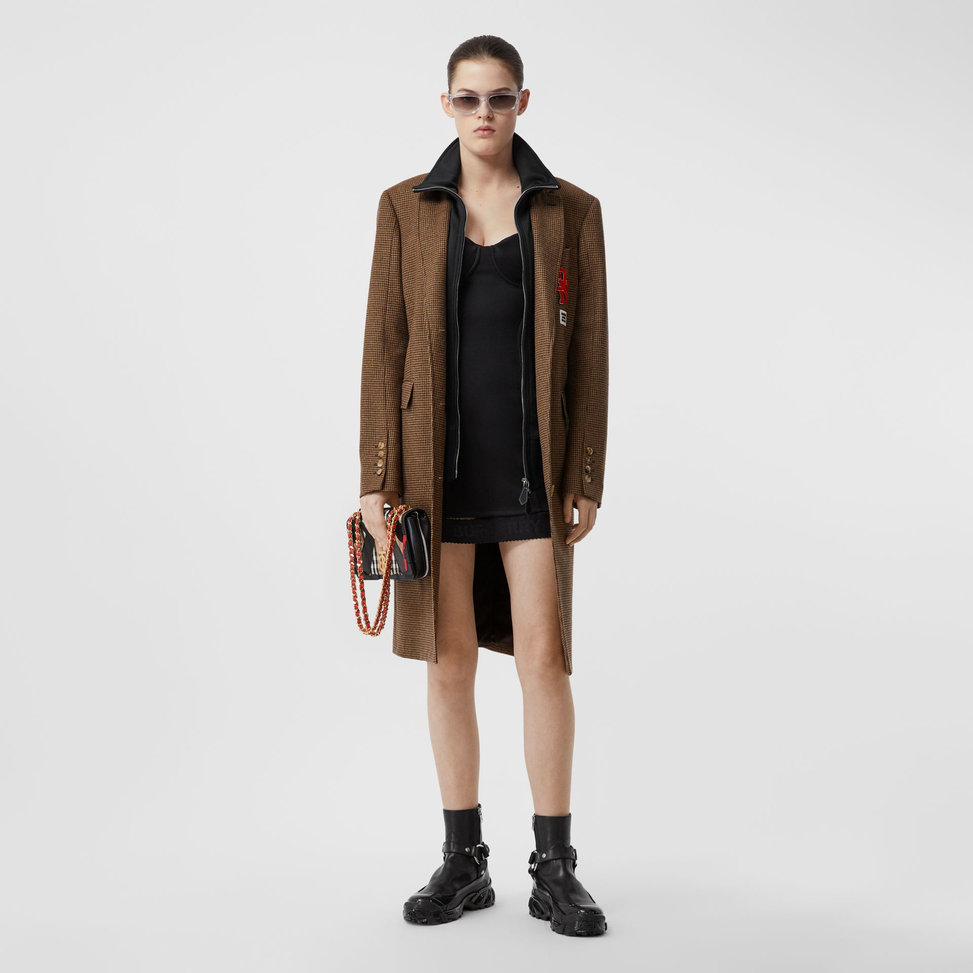 Track Top Detail Houndstooth Check Tailored Coat in Brown - Women | Burberry - gallery image 0