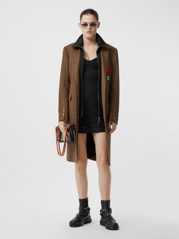 Track Top Detail Houndstooth Check Tailored Coat in Brown